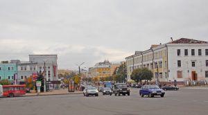 Вид на перекресток на площади Победы